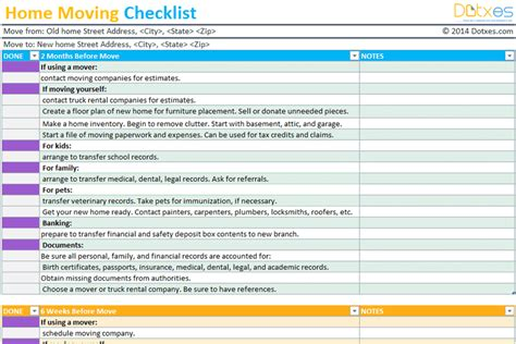 To Do List Templates Dotxes Moving Plan Template