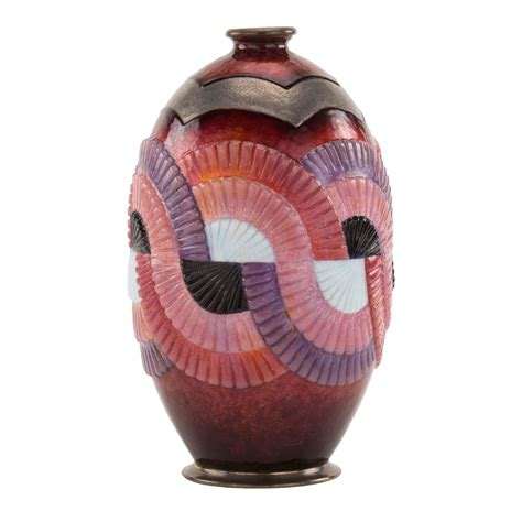 Geometric Vase Painting by Quot Geometric Quot Pattern Deco Enameled Vase By Camile Faure