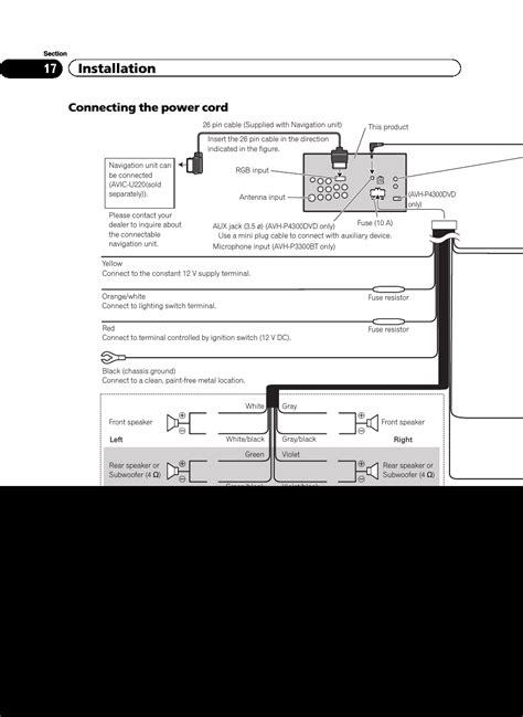 installation connecting  power cord pioneer avh pbt user manual page