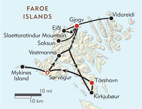 faroe islands map hiking the faroe islands itinerary map wilderness travel