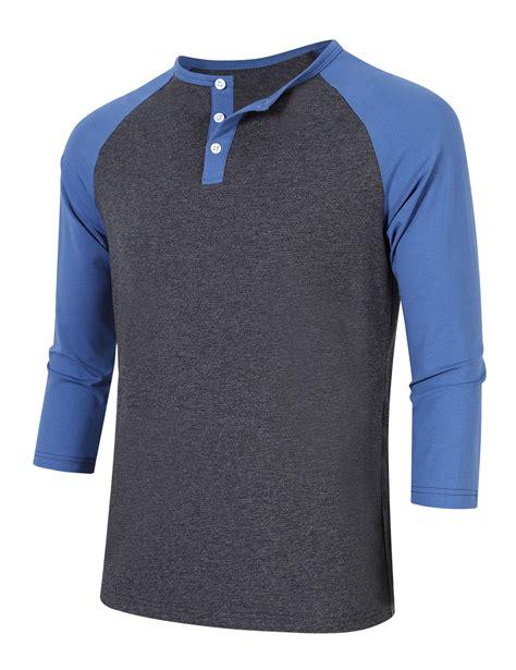 T Shirt 3 4 s baseball henley shirt tops 3 4 raglan sleeve