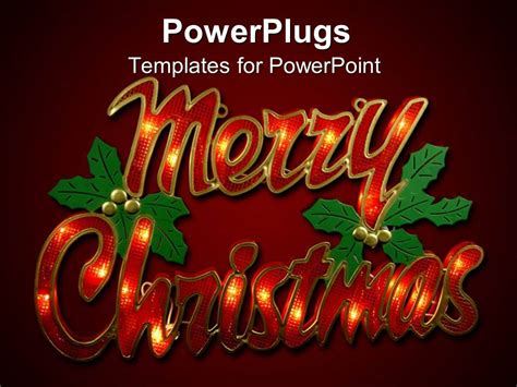 Powerpoint Template Large Red Merry Christmas Text On A Red Background 7168 Merry Templates