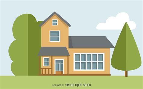 drawing of house two story house drawing free vector