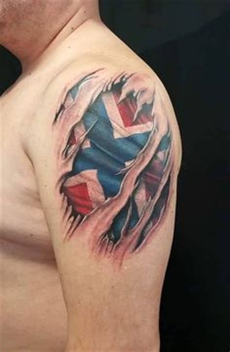 norwegian cross tattoo flag ripping through skin skin tear with american