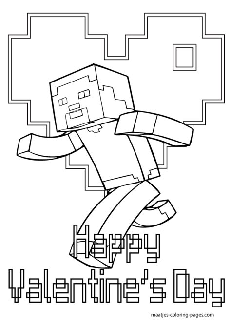 Minecraft Valentine Coloring Page | minecraft valentines day coloring pages for kids