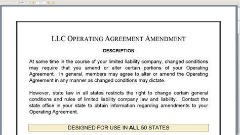 operating agreement amendment template llc operating agreement amendment