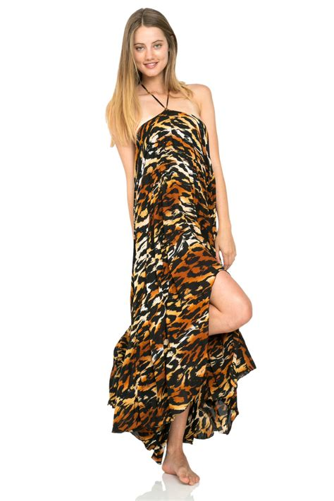jelani halter maxi dress skirt in cheetah