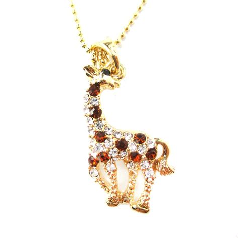 rhinestone pendants jewelry classic giraffe shaped rhinestone animal inspired pendant