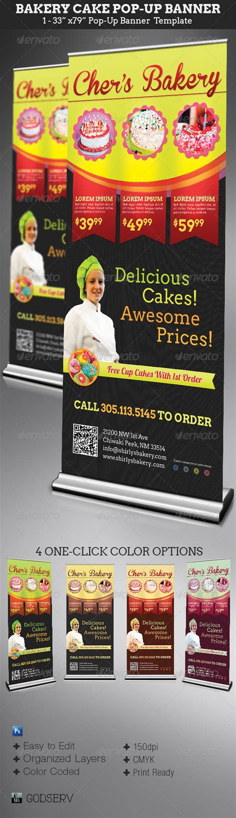 bakery cake pop up banner template graphicriver