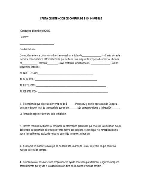 carta de intenci 210 n de compra de bien inmueble