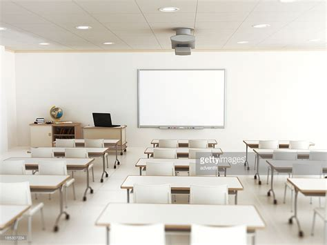 classroom layout for adults empty classroom with white tables and chairs stock photo