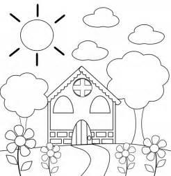Preschool Coloring Page – House  KidsPressMagazinecom sketch template