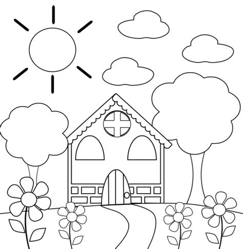 Preschool Coloring Page House Kidspressmagazine Com Coloring Pictures For Kindergarten
