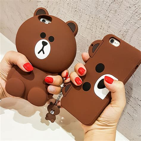 Iphone 5 5s 5se 3d Teddy Brown Soft Silicone Tpu Armor korean capa 3d teddy coque silicone