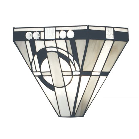art deco wall light with white glass and mirror panels art deco wall washer wall light with tiffany stained glass