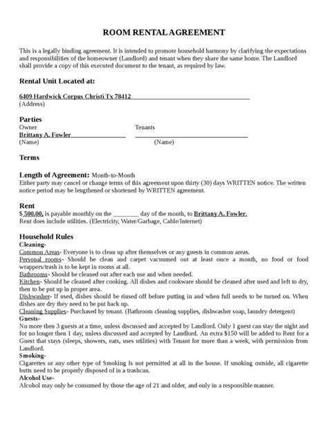 room rental agreement template 1 legalforms org