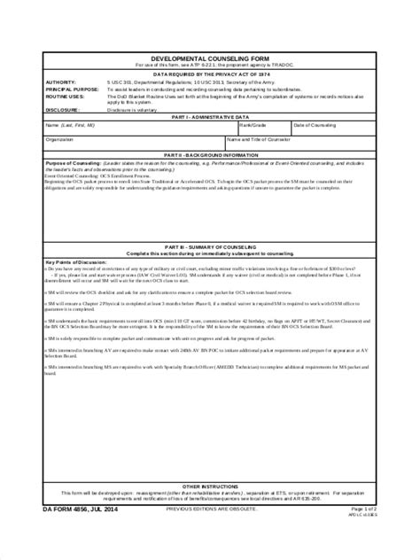army counseling form best resumes