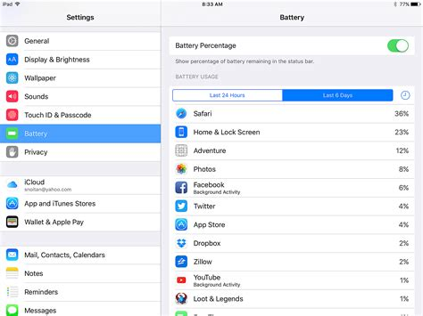 find ipad apps     battery life