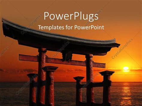 Powerpoint Template Japanese Temple Gate To Miyajima Shrine Looking Out Over The Ocean Against Japan Powerpoint Template Free