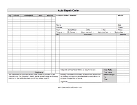 auto repair order template excel auto repair order template