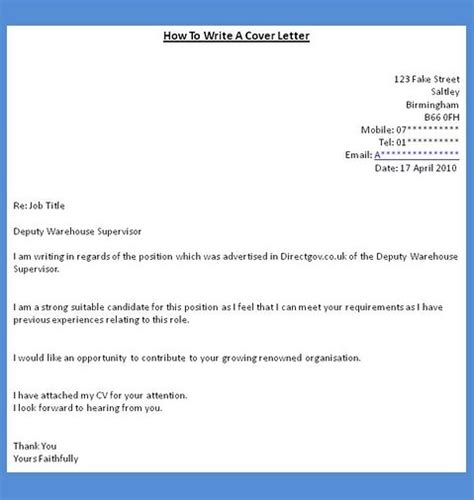 how to do cover letter for