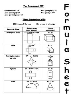 printable surface area formulas area surface area and volume formula sheet by