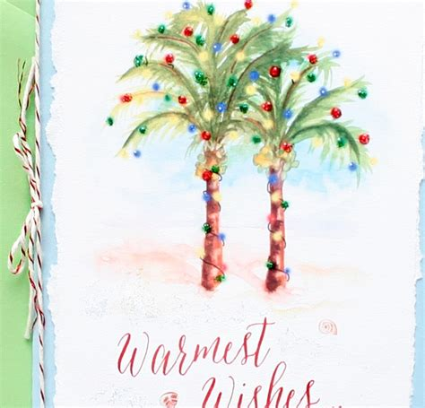 painted hand christmas trees handmade palm trees card mospens studio custom watercolor wedding