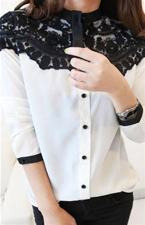 Grateful Blouse Ladsey Navy lace floral chiffon shirt tops button sleeve blouses navy white py3