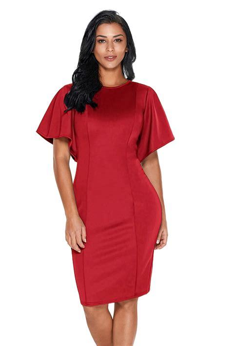 Slit Sleeve Sheath Dress us 8 03 flutter sleeve back slit sheath dress