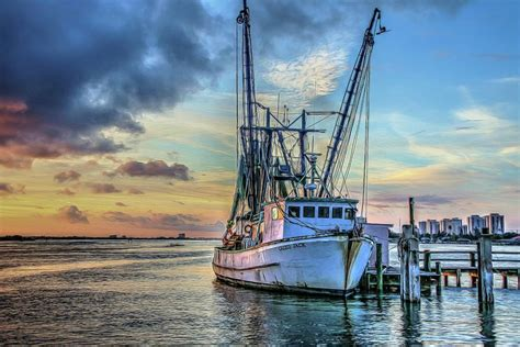 shrimp boat orange beach shrimp boat sunset photograph by helene haessler