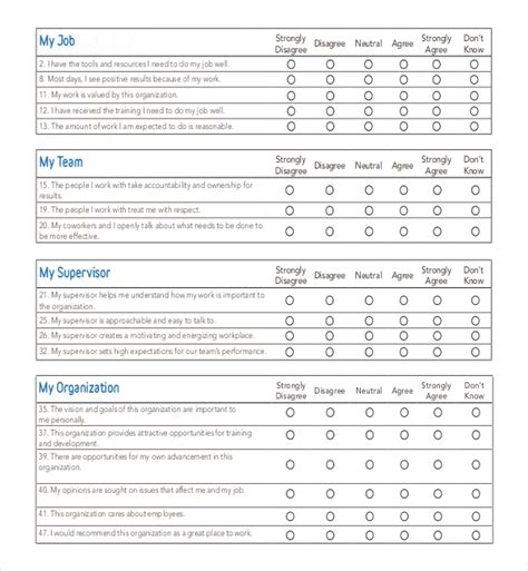 sle employee satisfaction survey templates attitude survey template 28 images employee survey