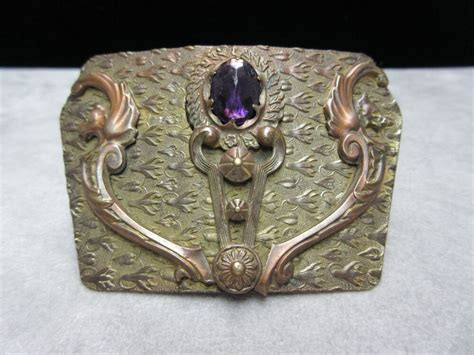 antique brass griffin amethyst large brooch pin ebay