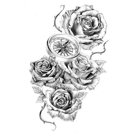 rose thorn tattoo designs pencil and in color