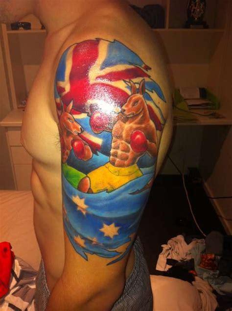 cartoon tattoo artist australia australian flag and kangaroo tattoo on left half sleeve
