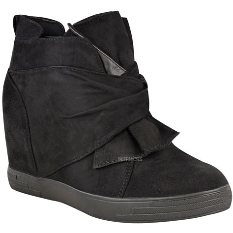 womens mid top sneakers womens mid high heel wedges trainers hi tops bow