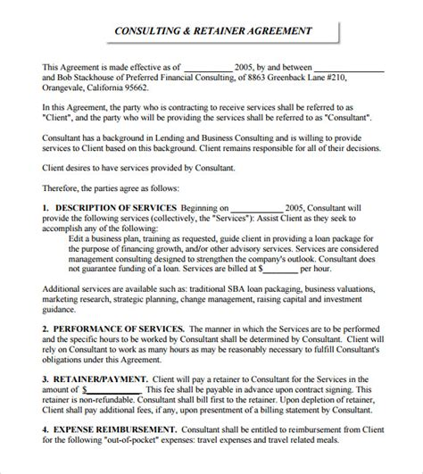 retainer agreement templates retainer agreement sle 8 exle format