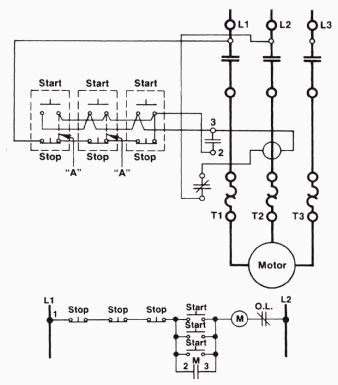 start stop station wiring diagram start stop schematic