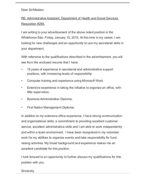 administrative cover letter 9 exles in word pdf