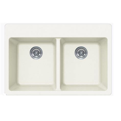 22 inch kitchen sink white quartz composite bowl undermount drop in