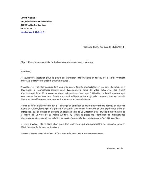 Lettre De Motivation Ecole Technicien Modele Lettre De Motivation Technicien Informatique Document