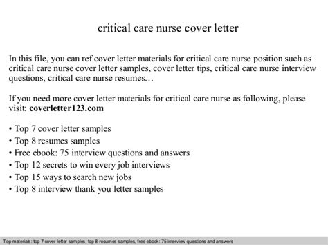 Critical Care Cover Letter by Critical Care Cover Letter