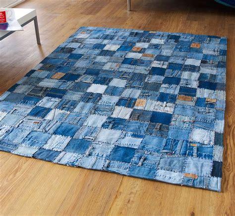 diy jean rug made from 100 denim this modern blue rug is stunning ebay