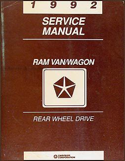 1992 dodge ram van wagon repair shop manual original b100 b350