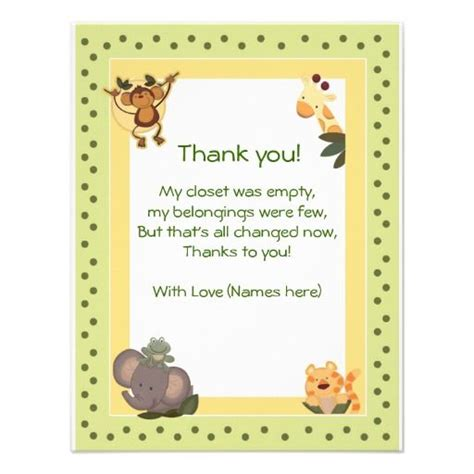 Thank You Saying For Baby Shower by Baby Saying Thank You Jungle Safari Animals Baby Shower