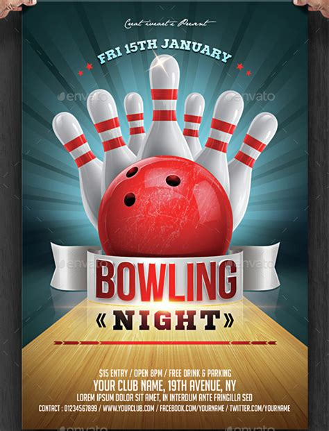 23 bowling flyer psd vector eps jpg download