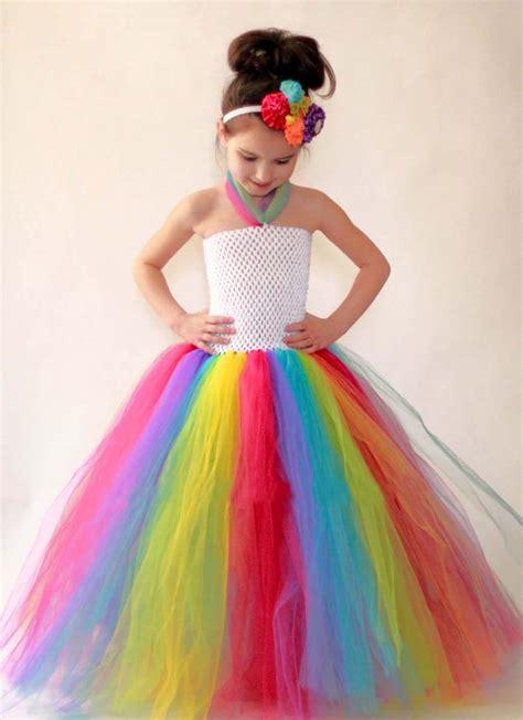 rainbow uk girls dress princess summer kids tutu dress