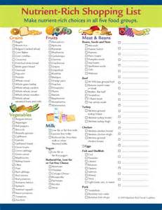 nutrient rich foods shopping list western dairy association