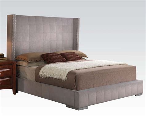 gray platform bed queen size gray velvet nailhead trim headboard platform bed