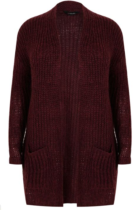 Chunky Cardigan berry longline chunky knit cardigan with pockets plus