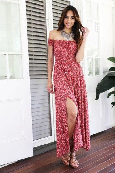 Flower Slit Dress dress floral maxi dress the shoulder slit
